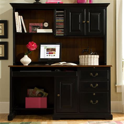 Riverside Summit 58 Inch Computer Desk With Hutch Cherry Black Desk With Hutch