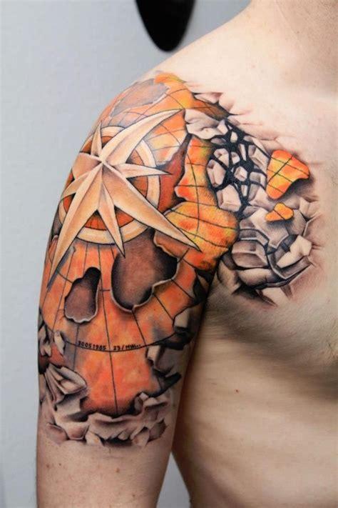 1001 id 233 es tatouage rose des vents cap sur un