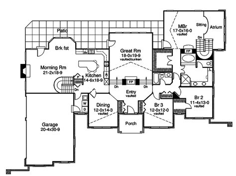 atrium ranch floor plans avondale cliff atrium home plan 007d 0165 house plans