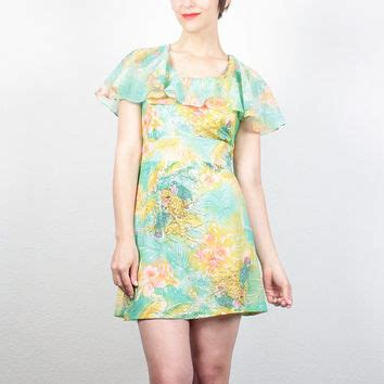 Mini Dress Gaun Bodycon Green Tropical Floral L Import Original best micro floral dress products on wanelo