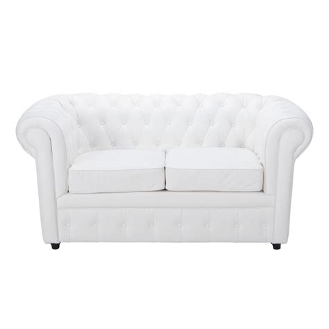 canap 233 capitonn 233 2 places blanc chesterfield maisons du