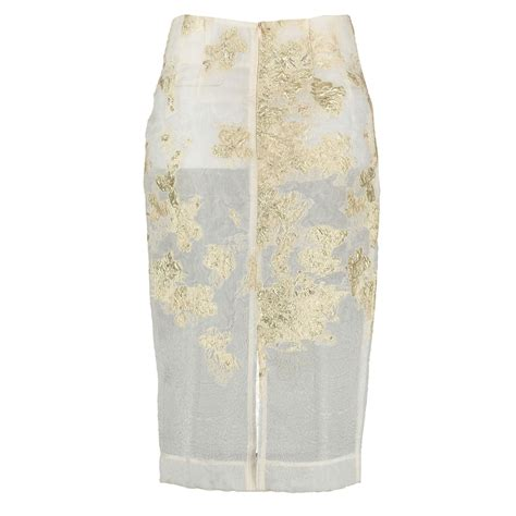 gold pattern skirt by sun gold pattern silk pencil skirt in natural lyst