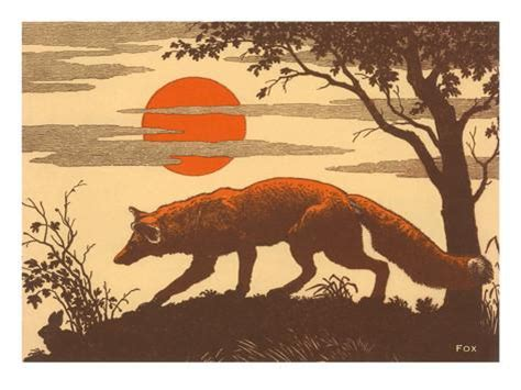 poster fox woodcut of fox posters at allposters