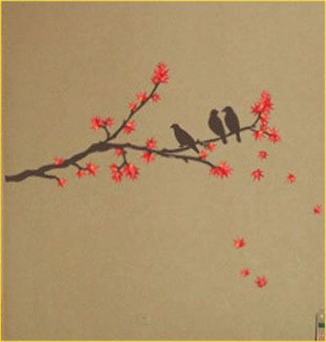 birds on a branch tattoo maple tree bird wall deco mural sticker es01