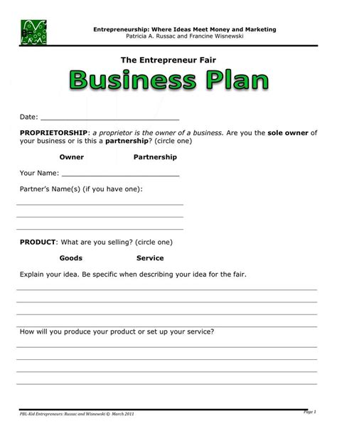 basic business plan template for kids images frompo