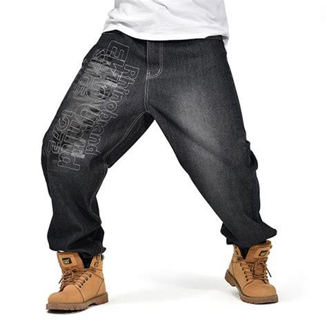 pattern baggy jeans mens black baggy jeans hip hop designer brand skateboard