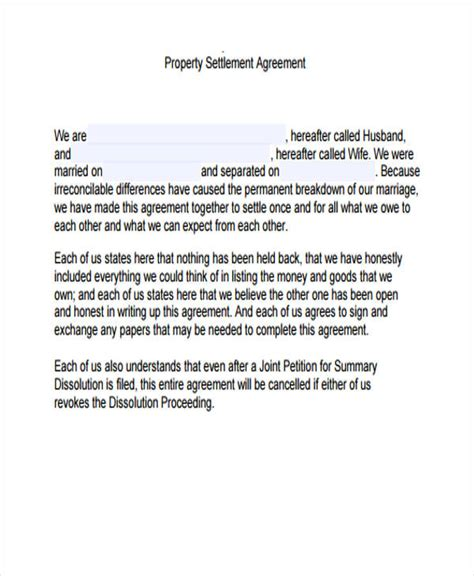 property settlement agreement template property agreement form 11 free documents in word pdf
