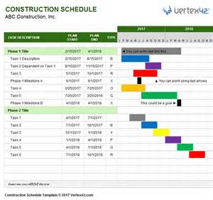 excel template schedule construction schedule template