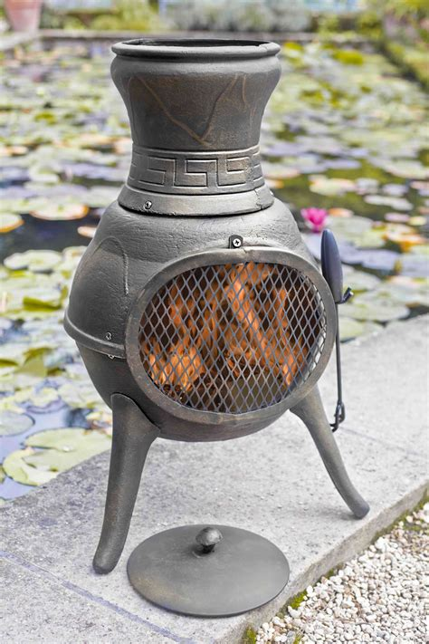 Clay Chiminea With Iron Stand Bronze Squat 100 Cast Iron Chiminea Chimenea Patio Heater