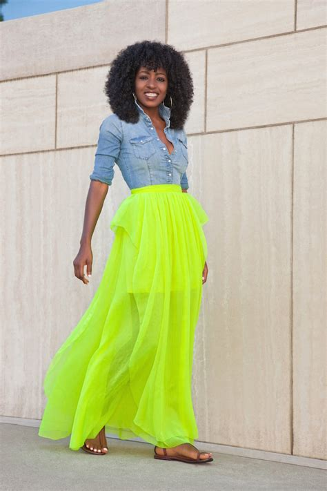 style pantry denim shirt neon maxi skirt