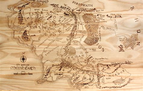 printable map middle earth print of hand burned map of middle earth wood burn