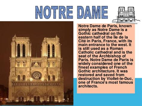 Notre Dame Mba Slide Presentation by Monuments In Ppt