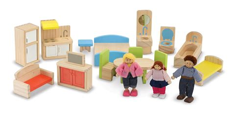 wooden doll house people melissa doug hi rise wooden dollhouse with 15 pcs furniture garage and working