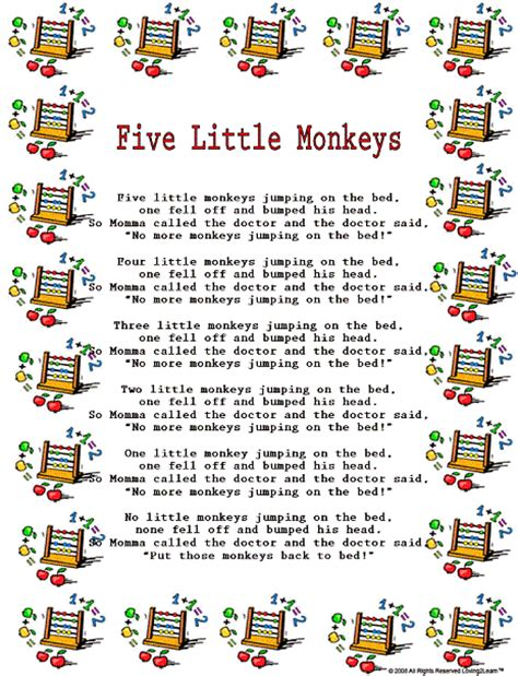 5 little monkeys jumping on the bed lyrics counting rhymes songs printable rhyme and a learning video