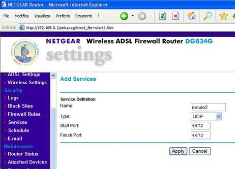 aprire porte emule netgear emule italia emule configurazioni router netgear