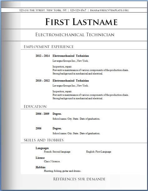 Best Resume Templates For Word by Free Cv Templates 72 To 78 Free Cv Template Dot Org
