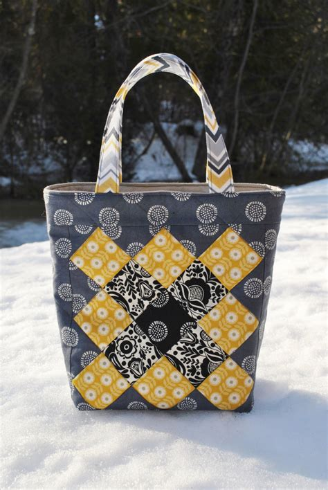 Patchwork Tote Bag Pattern - pdf patchwork tote bag pattern mini charm friendly
