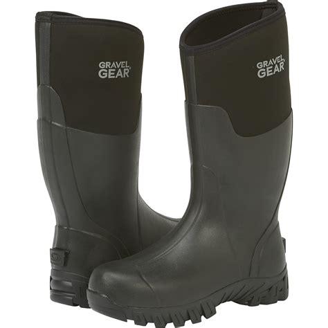 rubber boots free shipping gravel gear men s 15in waterproof rubber