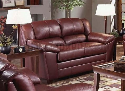 wine leather sofa 4955 wine bonded leather sofa loveseat set by just in time