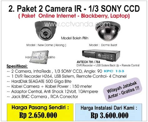 Paket Cctv 2 Kamera 600tvl Dis paket cctv 2 ir avtech cctv