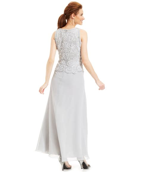 j kara beaded bodice gown j kara beaded bodice chiffon gown and shawl in metallic lyst