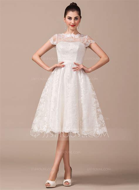 Hochzeitskleid Schlicht Knielang by A Linie Princess Linie U Ausschnitt Knielang Spitze