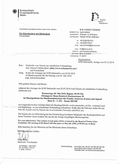 Complaint Letter German Terror News