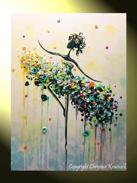 modern painting ideas arte astratta pittura ballerina tela aqua viola martellata