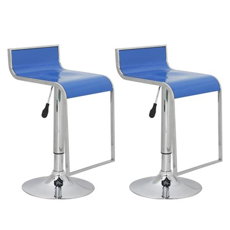 Plastic Bar Stools by Vidaxl Co Uk Bar Stool Low Back Blue Abs Plastic Set Of 2