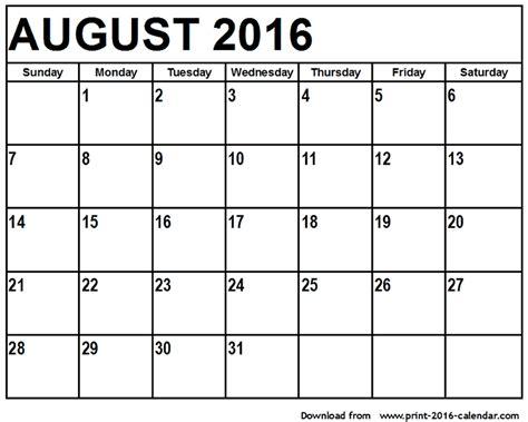 printable calendar august august 2016 printable calendar