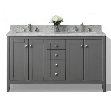 White Double Sink Bathroom Vanities - shop ancerre designs shelton sapphire gray undermount double sink bathroom vanity with natural