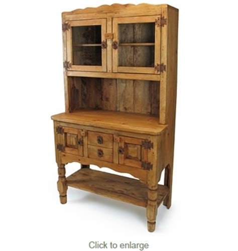 Rustic Kitchen Hutch by Country Rustic Pine Kitchen Hutch With Glass