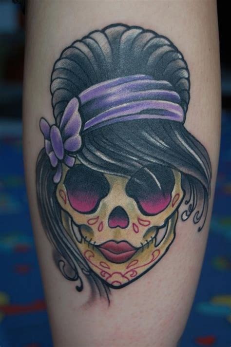 black pearl tattoos girly sugar skull done in black pearl tattoomagz