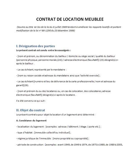 modele contrat de location meuble contrat de location