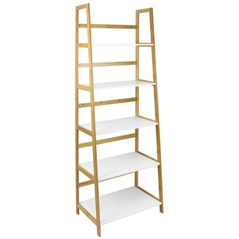 bamboo 5 shelf bookcase hartleys white bamboo 5 tier tall bookcase shelves