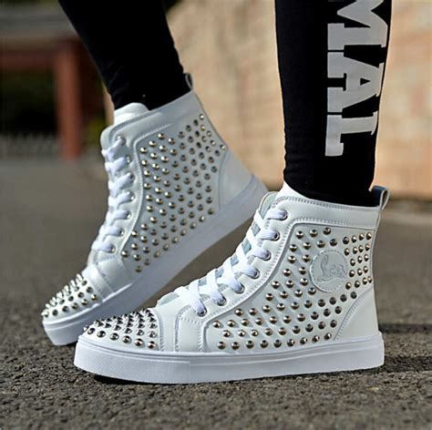 cheap white bottom sneakers for with spikes black