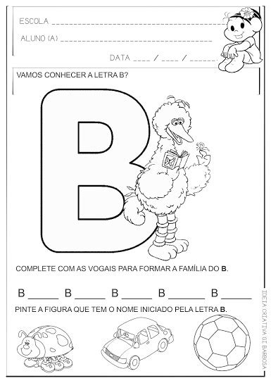 Atividade Educação Infantil Letra B
