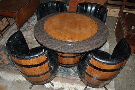 whiskey barrel table and chairs vintage whiskey barrel dinette set card table by