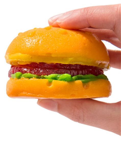 gummy fast food: hot dog and cheeseburger made of gummy.