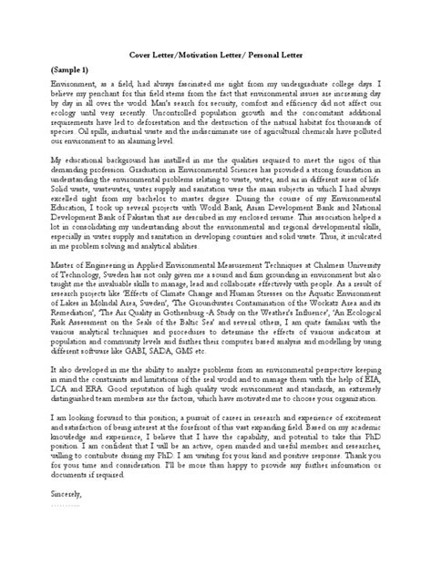 Motivation Letter In Pdf Sles Of Cover Letter Motivation Letter Personal Motivation Letter Pdf May 2 2008 7 01 Pm