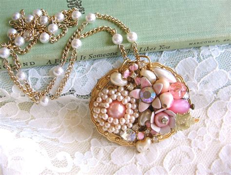 pretty in pink shabby chic one of a kind vintage jewelry
