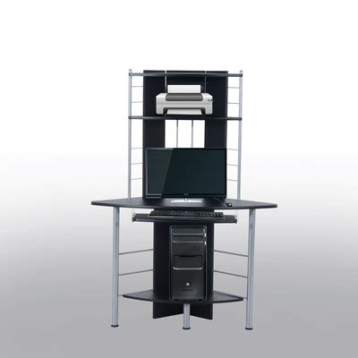 Corner Computer Desk Tower Homcom Tower Corner Computer Desk Table With Keyboard Tray Cpu Stand Printer Platform Black