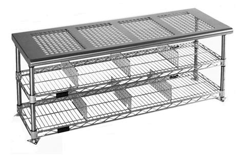 stainless steel bench top perforated seat top stainless steel gowning bench pcrb1848