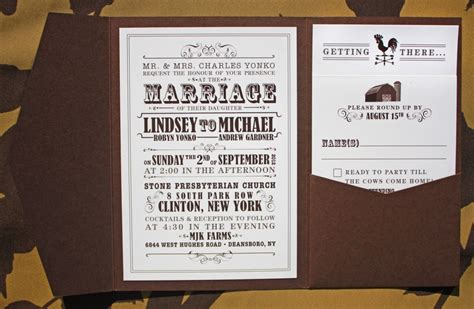 Farm Theme Wedding Invitations by Brown And Farm Themed Vintage Poster Style