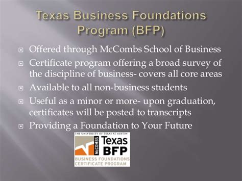 Mccombs School Of Business Mba Requirements by Business Foundations Program