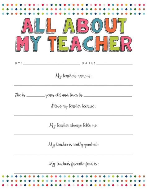 All About My Teacher Free Printable Free Printable Teacher And Free Templates For Teachers