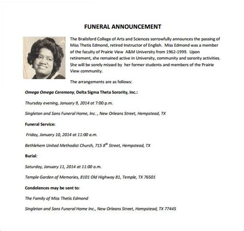 Funeral Notice Template 12 Free Word Excel Pdf Psd Format Download Free Premium Templates Funeral Announcement Template