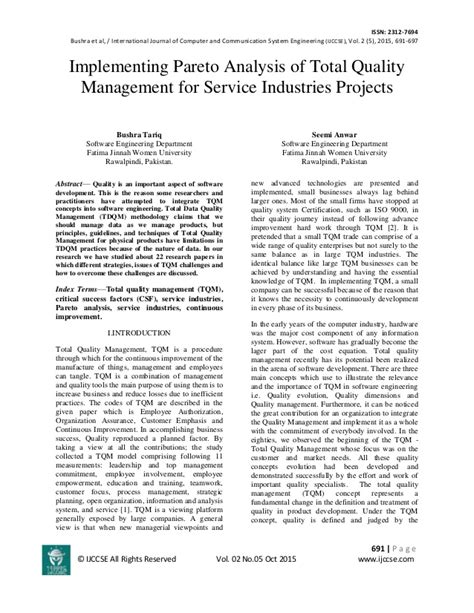 quality management thesis implementing pareto analysis of total quality management