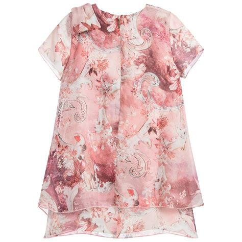 Kid Dress Cavally Pink roberto cavalli pink silk floral dress childrensalon