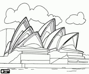 coloring page of sydney opera house monuments and other sights in oceania coloring pages